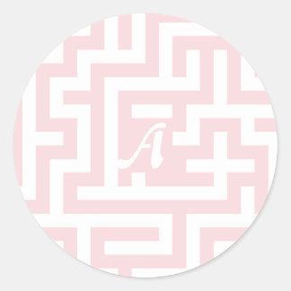 Pale Pink and White Maze Monogram Round Stickers