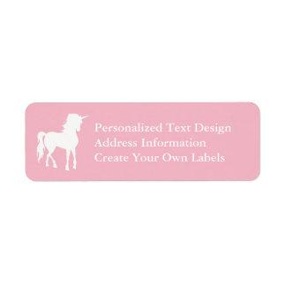 Pale Pink and White Unicorn Return Address Label
