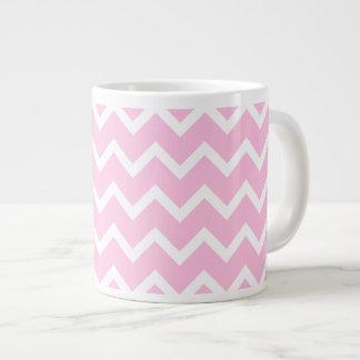 Pale Pink and White Zigzag Pattern. Large Coffee Mug