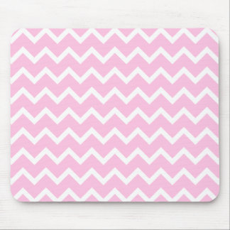 Pale Pink and White Zigzag Pattern. Mouse Pad