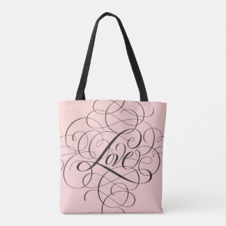 Pale Pink Black Flourished LOVE Script Lettering Tote Bag