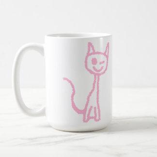 Pale Pink Cat, Winking. Coffee Mug