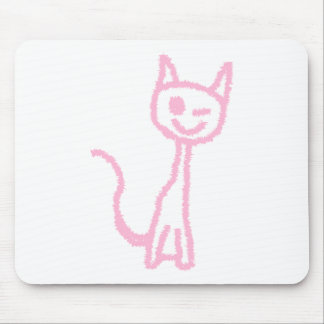 Pale Pink Cat, Winking. Mouse Mat