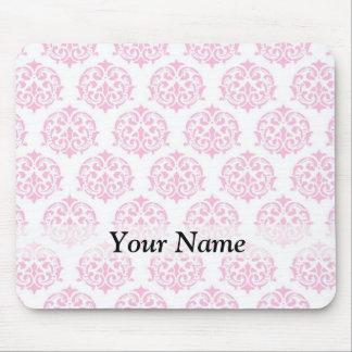 Pale pink damask mouse mat