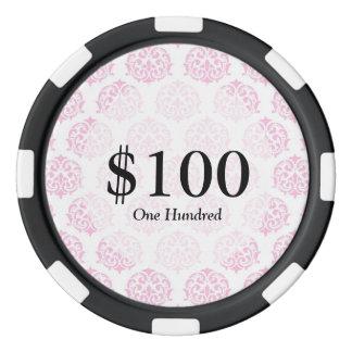 Pale pink damask poker chips