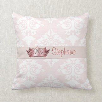 Pale Pink Damask Princess Throw Pillow