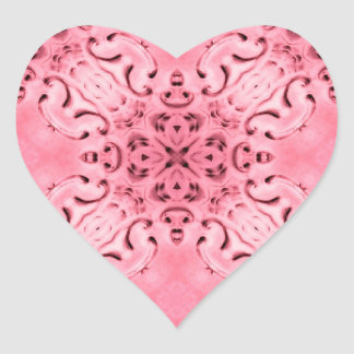 Pale pink damask seals heart sticker