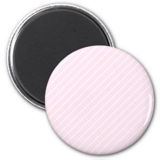 Pale pink Diagonal Stripes. 6 Cm Round Magnet