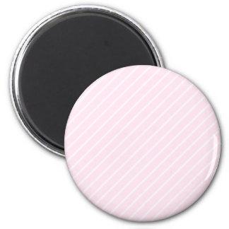 Pale pink Diagonal Stripes. 6 Cm Round Magnet