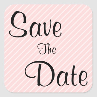 Pale Pink Diagonal Stripes Save The Date Square Sticker
