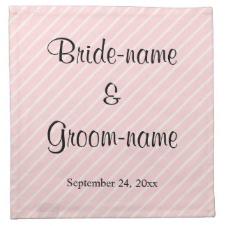 Pale Pink Diagonal Stripes Wedding Napkin