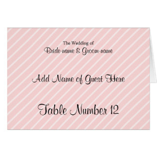 Pale Pink Diagonal Stripes Wedding Place Cards