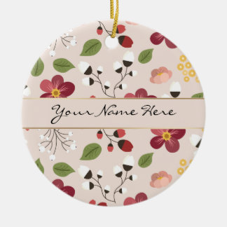 Pale Pink Dog Rose, Rosehips & Mistletoe Round Ceramic Decoration