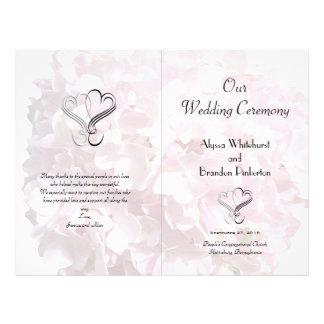 Pale Pink Floral Hearts Folded Wedding Program 21.5 Cm X 28 Cm Flyer