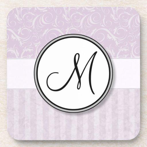 Pale Pink Floral Wisps & Stripes with Monogram Beverage Coaster