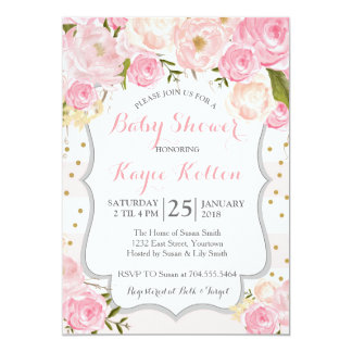 pale pink flowers Baby Shower Invitation