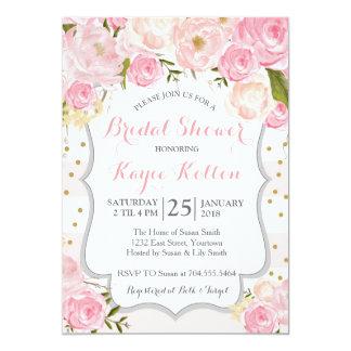 pale pink flowers Bridal Shower Invitation