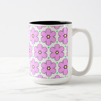 Pale Pink Flowers Two-Tone Coffee Mug