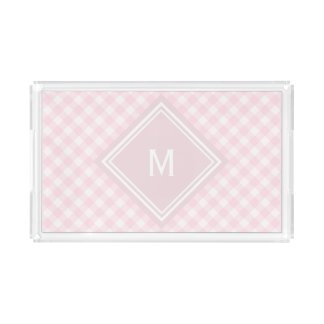 Pale Pink Gingham with Diamond Monogram Acrylic Tray