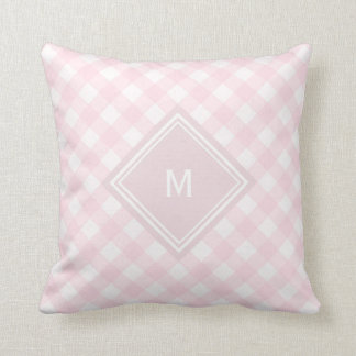 Pale Pink Gingham with Diamond Monogram Cushion