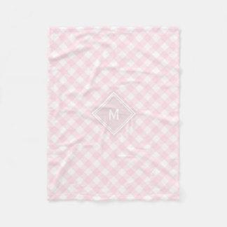 Pale Pink Gingham with Diamond Monogram Fleece Blanket