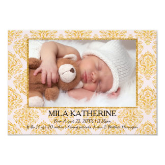 Pale Pink Glitter Flourish- 3x5 Birth Announcement