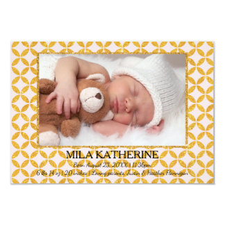 Pale Pink Gold Pattern - 3x5 Birth Announcement