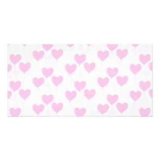Pale Pink Heart Balloon Pattern. Custom Photo Card