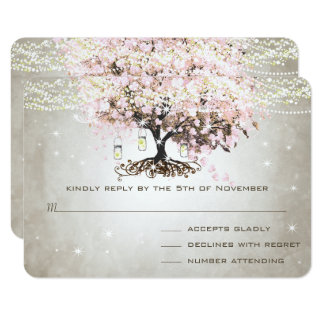 Pale Pink Heart Leaf Wedding RSVP Card