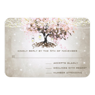 "Pale Pink Heart Leaf Wedding RSVP 3.5"" X 5"" Invitation Card"