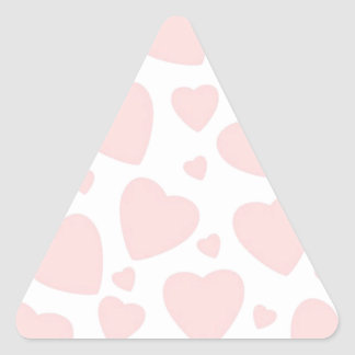 Pale Pink Hearts Triangle Sticker
