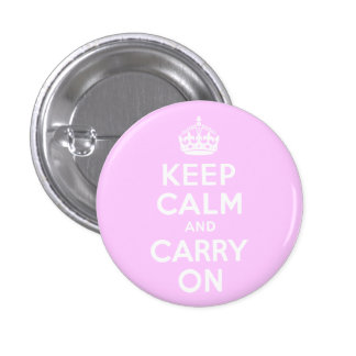 Pale Pink Keep Calm and Carry On 3 Cm Round Badge