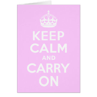 Pale Pink Keep Calm and Carry On Greeting Cards