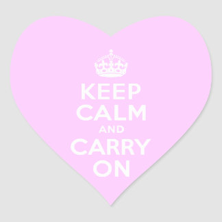 Pale Pink Keep Calm and Carry On Heart Sticker