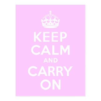 Pale Pink Keep Calm and Carry On Post Card