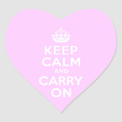 Pale Pink Keep Calm and Carry On Sticker
