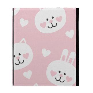 pale pink,kittens,cute,girly,kauai,trendy,hearts,w iPad cases