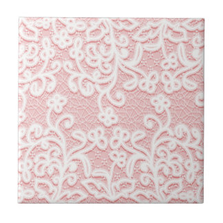 Pale pink lace,white,vintage,victorian,girly,cute, small square tile