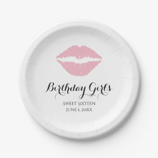 Pale Pink Lipstick Sweet Sixteen Birthday Party Paper Plate