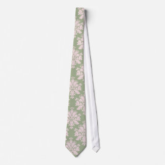 pale pink on sage green ornate damask pattern tie
