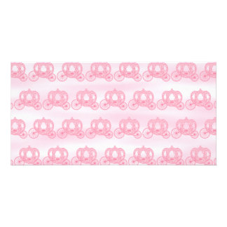 Pale Pink Pattern of Princess Carriages Photo Card Template