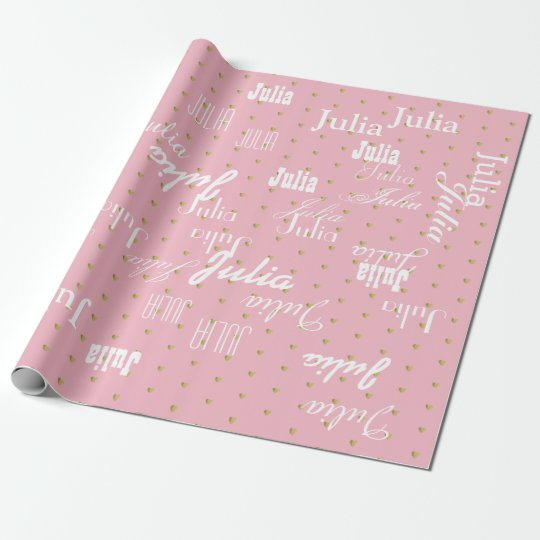 pale pink personalised pattern of names wrapping paper