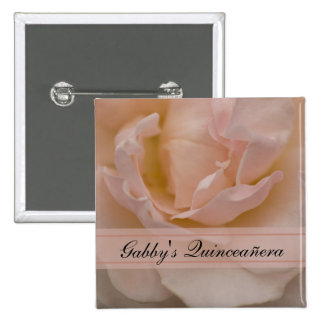 Pale Pink Rose Floral Quinceañera 15 Cm Square Badge