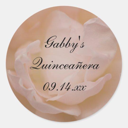 Pale Pink Rose Floral Quinceañera Favour Tag