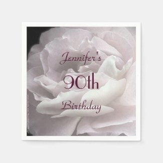 Pale Pink Rose Paper Napkins, 90th Birthday Party Napkin