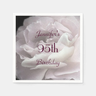 Pale Pink Rose Paper Napkins 95th Birthday Party Napkin