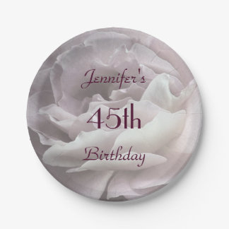 Pale Pink Rose Paper Plates, 45th Birthday Party 7 Inch Paper Plate