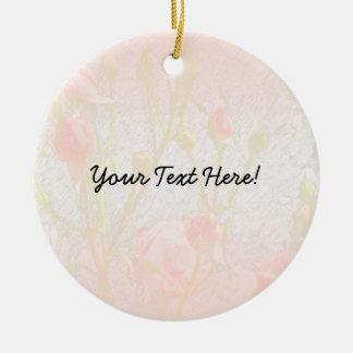 Pale Pink Rosebuds Round Ceramic Decoration