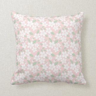 Pale Pink Sakura Japanese Accent Floral Pattern Throw Pillow