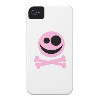 Pale Pink Skull and Crossbones. Pink and Black. Case-Mate iPhone 4 Cases